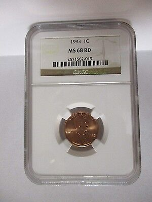 1993 Lincoln 1C Cent NGC MS68 RD