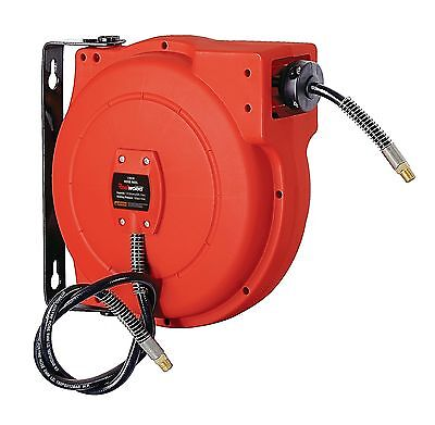 """ReelWorks Plastic Retractable Air Compressor Hose Reel with 1/4"""" x 33' inch"""