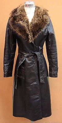 Vintage 70's Black Belted Long Leather Trench Coat with Fur Collar