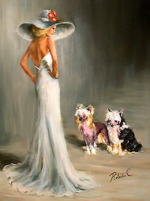 Chinese Crested with lady  print dog art matted #1 of 250