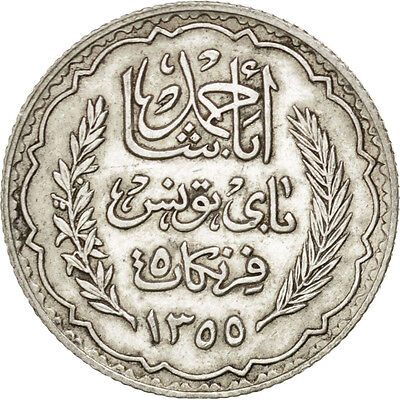 [#75171] TUNISIA, 5 Francs, 1934, Paris, KM #261, AU(55-58), Silver, 5.01