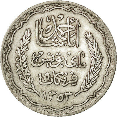 [#75177] TUNISIA, 5 Francs, 1936, Paris, KM #261, AU(55-58), Silver, 4.96