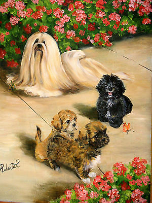 Lhasa Apso group limited edition print  with double designer mat #1 of 250