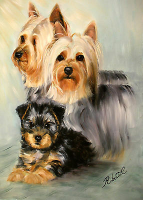 Silky Terrier family dog art print with double designer mat #1 of 250