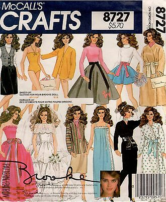 *McCall's Crafts 8727 Vintage BROOKE SHIELDS Doll Clothes Sewing Pattern
