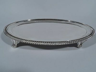 Georgian Salver - Antique Edwardian Oval Tray - English Sterling Silver - 1910