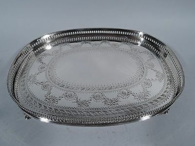 Gorham Salver - Neoclassical Oval Gallery Tray - American Sterling Silver