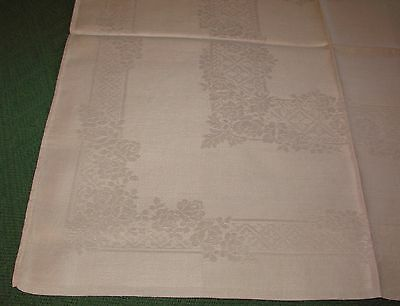 "5 Antique Linen Damask Napkins - 22"" - Roses - S17"