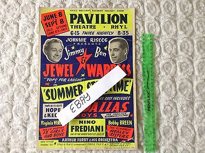 Vintage Theatre Poster Advertising,Rhyl,Jimmy Jewel,Ben Warriss,Rare,Comedy