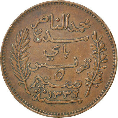 [#81418] TUNISIA, 5 Centimes, 1914, Paris, KM #235, EF(40-45), Bronze, 26, 5.03