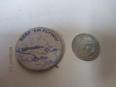 Original Wwii Homefront Rwb Keep'em Flying P-51 Mustang  North American Button