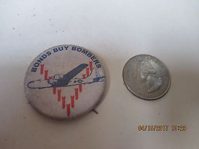 Original Wwii Homefront Rwb Bonds Buy Bombers B-29 Boeing Superfortress Button