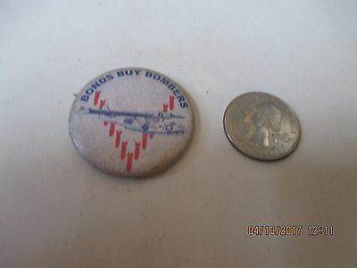 Original Wwii Homefront Rwb Bonds Buy Bombers Pby Catalina Flying Boat Button