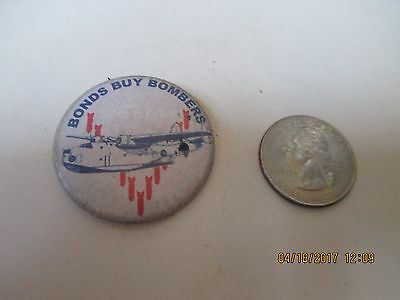 Original Wwii Homefront Rwb Bonds Buy Bombers Martin Mars Flying Boat  Button