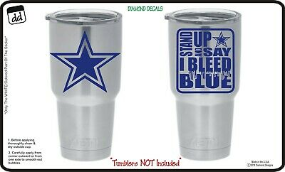 Dallas Cowboys Bleed Blue (Set of 2) Vinyl Decals for Yeti Cup NFL Sticker NEW