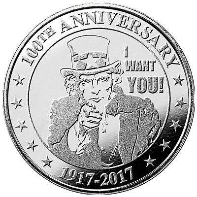 "Highland Mint Uncle Sam ""I Want You"" 100th Anniversary 1oz Silver Round SKU47542"