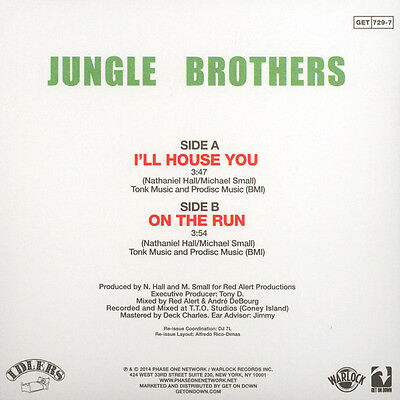 "Jungle Brothers ‎– I'll House You / On The Run 7"" 45 NEW Get On Down Hip Hop Rap"