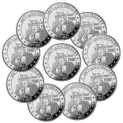 "Lot of 10 Uncle Sam ""I Want You"" 100th Anniversary 1 oz Silver Round SKU47545"