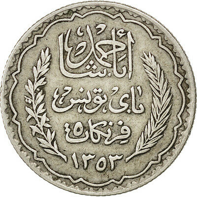 [#75180] TUNISIA, 5 Francs, 1936, Paris, KM #261, AU(55-58), Silver, 4.93