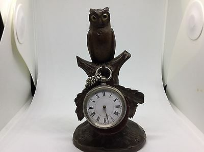 Victorian Carved Wooden Owl Pocket Watch Holder/stand