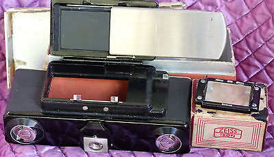 Black Enamel Zeiss Plate Back 543/13 For Contax I, Boxed + Ground Glass - Mint