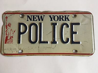 1986 New York POLICE License Plate Liberty Base Stamped/Embossed (not flat)