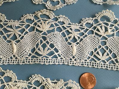 Vintage handmade classic Cluny Butterfly bobbin lace yardage  CRAFT SEWING