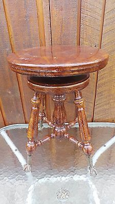 VICTORIAN Antique Wood PIANO STOOL Adjustable Height Beautiful Legs OTTERVILLE