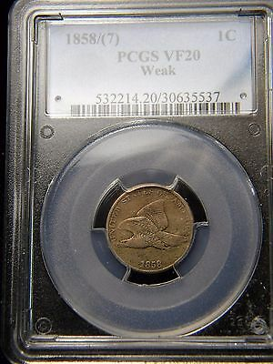 1858/7 FLYING EAGLE CENT (1c)***PCGS GRADED TO VF 20***      BBE