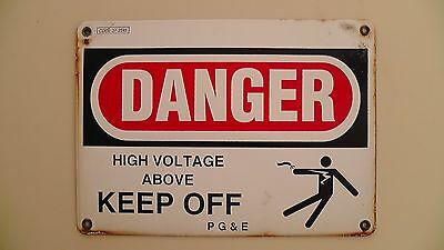 "Vintage Porcelain Dbl Sided  'Danger High Voltage' Los Angeles PG&E 14"" x 10"""