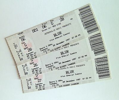RARE BLUR MEMORABILIA - Tickets Stub(s) Wembley Arena 09/12/97 Mint Condition