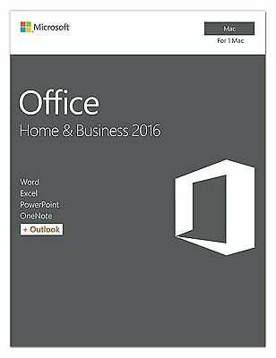 Microsoft Office 2016 Home & Business - 1 Mac - Medialess - Office Suite Box - I