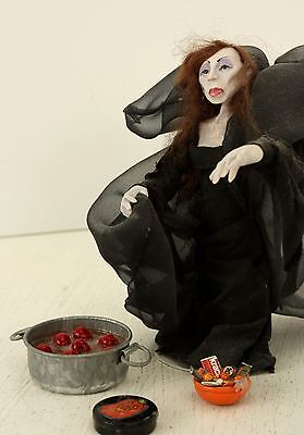 Ghost Lady in Black with Halloween Treets OOAK  Hand Sculpted Polymer Clay