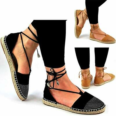 Ladies Womens Canvas Espadrilles Shoes Summer Flat Pumps Plimsoles Sandals Size