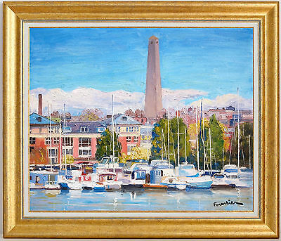 Boats In Boston Harbor~Listed Artist~Original Oil Painting By Marc Forestier