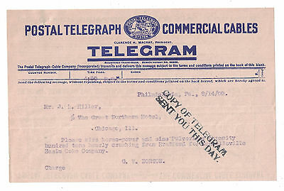 1909 Postal Telegraph Commercial Cable Telegram Great Northern Hotel Chicago