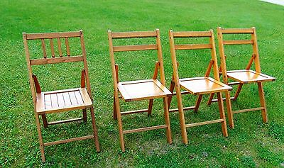 Antique Wood Oak Wooden Folding Chairs Set of 4