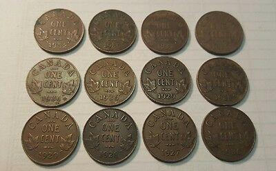 ~ Canada One Cent 1920~1936 King George V Coins ~ REVISED $