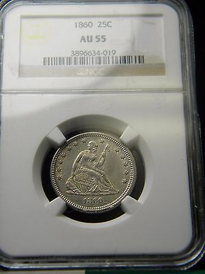 1860 Seated Liberty Quarter Dollar***ngc Graded To Au 55***aio