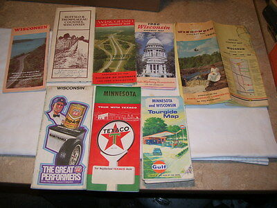 Lot of Vintage Road Maps MN WI IL Phillips 66 Texaco Gulf Oil Gas Advertising