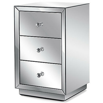 Mirrored Glass Bedside Table 3 Drawer Bedroom Cabinet Stand Christow Furniture