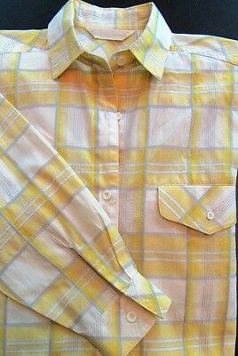 Vtg 90s GLORIA VANDERBILT Womens S Oversize Plaid Button Shirt Career Yellow
