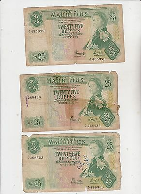 Mauritius 1967 (Nd) 25 Rupees Banknote Lot Of 3 Banknotes Intern'l Ship $4.99