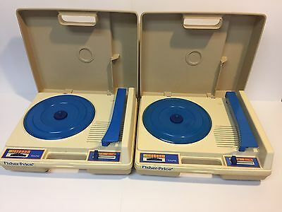 VINTAGE 1978 FISHER PRICE 825 CHILDREN RECORD PLAYER Blue Lot Of Two Units