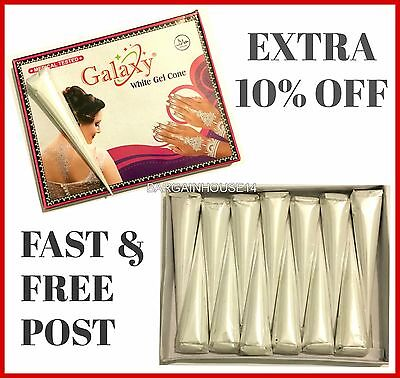 Imported White Henna Gel  Paste Temporary Tattoo (Henna) Cones / Body Art