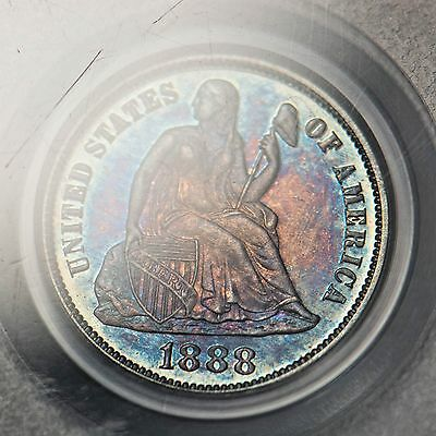 1888 10c PCGS PR65 Seated Liberty Dime (Numerous Holder Scuffs but AWESOME COIN)