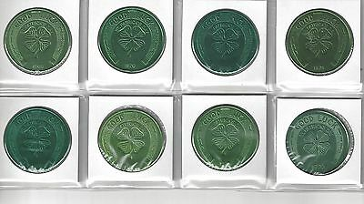 8 Vintage Horseshoe 4 Leaf Clover St. Patrick's Day Good Luck Coins Tokens Lot