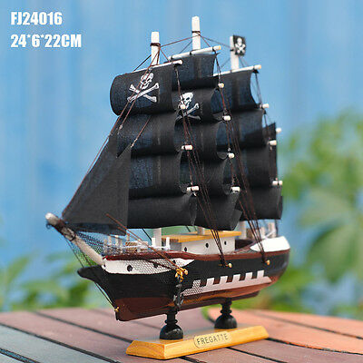 Fashion decor Wooden Sailing Ship Handmade Carved Model Boat Nautical Decoration