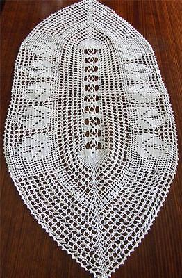 SALE - Beautiful Snow White Hand Crocheted Oval Shaped Table Runner - 80 x 36 cm