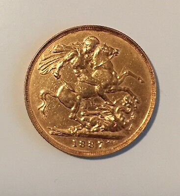 Deceased Estate 1887 Queen Victoria 2 Pounds Full English Sovereign Coin Gold